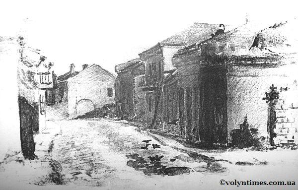 Вулиця Драгоманова. Мал. В.Хілька 1954 рік