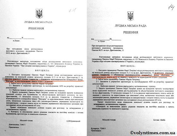 Проекти рішень ЛМР. Павлюк М.П.